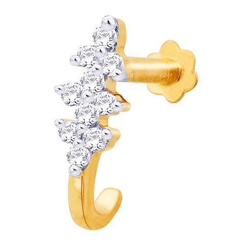 pin designer nose rings 0 15 ct round certified diamond gold designer