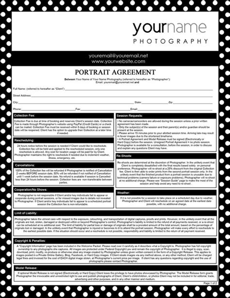 photoshoot contract template photography forms portrait agreement contract and model