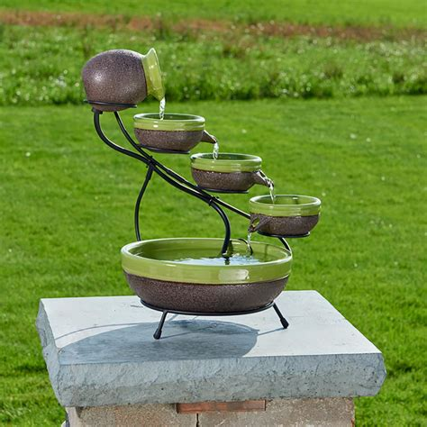 smart solar ceramic solar cascade fountain  kiwi
