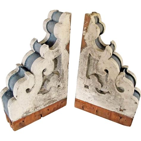 Vintage Wood Brackets Antique Pair Corbels Mahogany 1880 S Architectural Porch