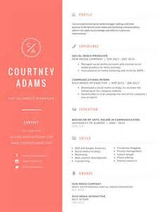 bright social media manager resume templates by canva