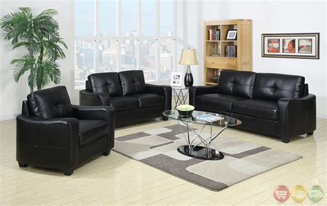 Black Leather Living Room Sets Belfast Contemporary Black Living Room Set With Bonded Leather Match Cm6112