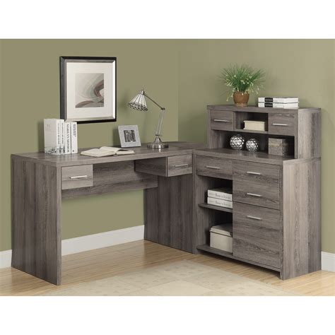 Home Office Desk L Shaped Monarch Reclaimed Look L Shaped Home Office Desk Desks At Hayneedle