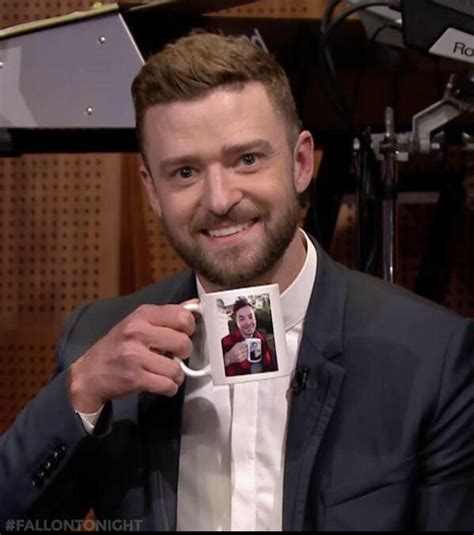 Jimmy Fallon holding a coffee cup with a picture of Justin Timberlake holding a coffee cup with