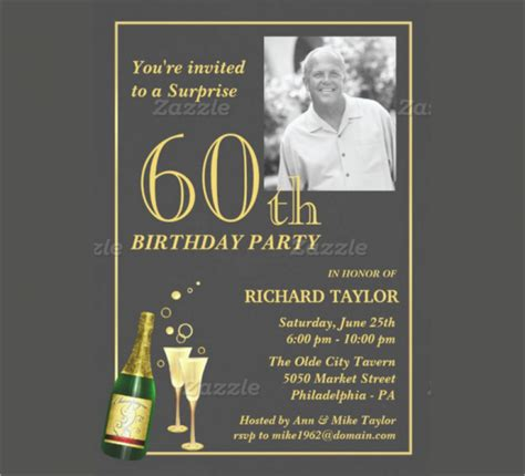 60th birthday invites free template 60th birthday invitation template