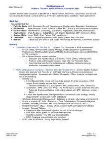 Senior Qa Engineer Sle Resume by Senior Qa Engineer Resume Sle
