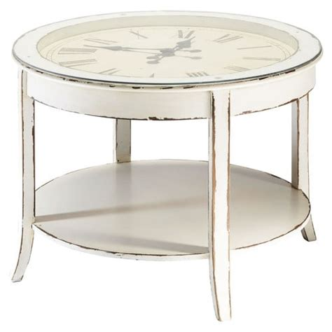 glass and wood clock coffee table in white with