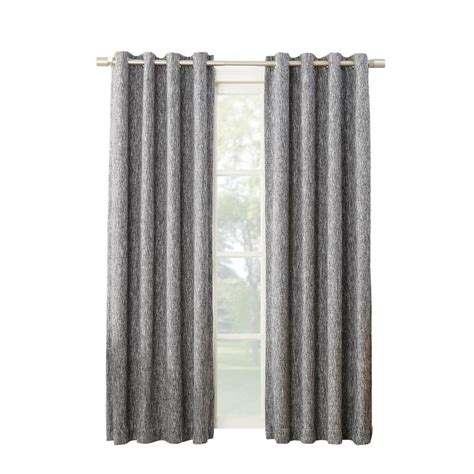 polyester blackout curtains shop allen roth pierston 95 in coal polyester grommet