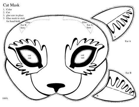 printable mask of cat print out kitty masks clipart best