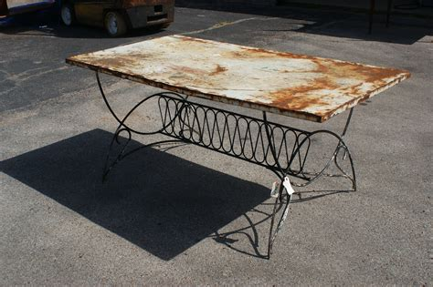 Vintage Patio Table Metal Patina Dining Table Omero Home