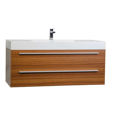 wall bathroom vanity 47 inch wall mount contemporary bathroom vanity in teak tn