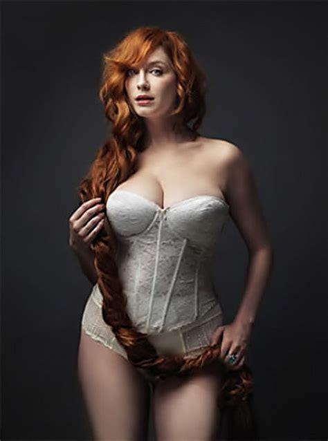 redhead christina hendricks christina hendricks hot redhead lingerie white bustier