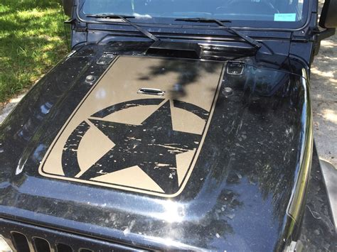 jeep army star product jeep wrangler tj vinyl distressed army star hood