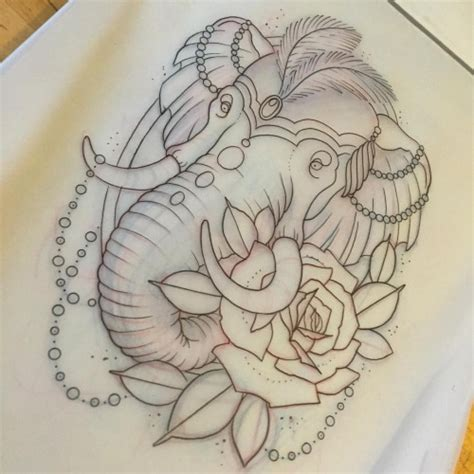 elephant and rose tattoo new school circus elephant and a design