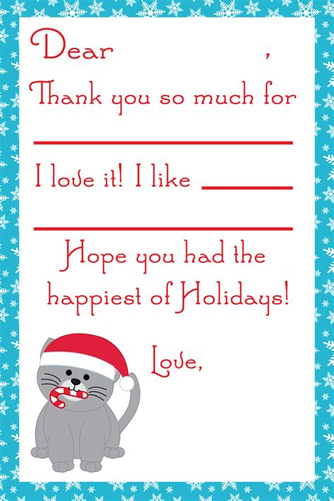 printable christmas thank you notes for teachers 7 best images of free christmas printable from teacher