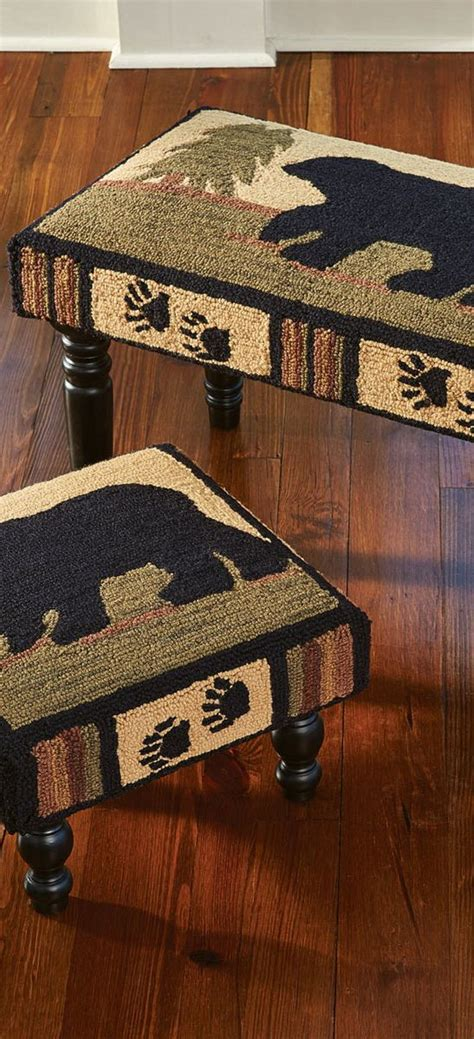 black bear rustic footstool lodge benches rustic