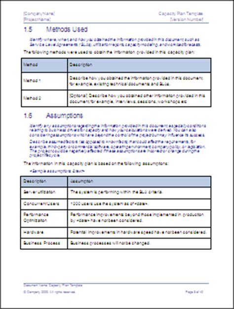 capacity plan template – download microsoft word and excel