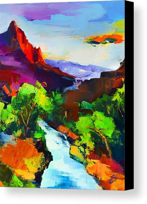 canvas zion zion the watchman and the virgin river canvas print