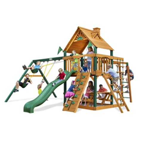 kids swing sets lowes shop gorilla playsets navigator residential wood playset