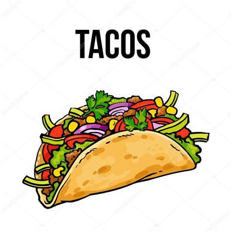 imagenes kawaii de tacos taco mexicano suelo quedar con verduras en tortilla
