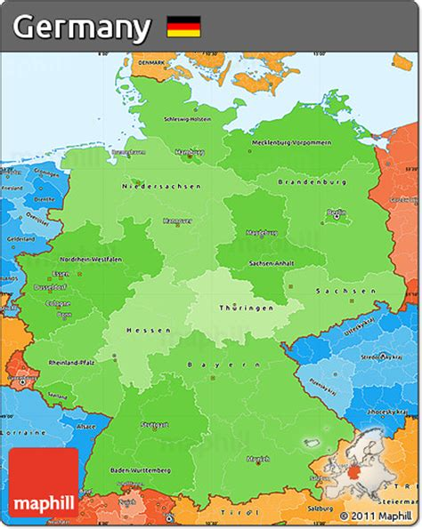 political map germany free political shades simple map of germany