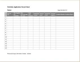 Record Sheet Template by Pesticides Application Record Sheet Word Excel Templates
