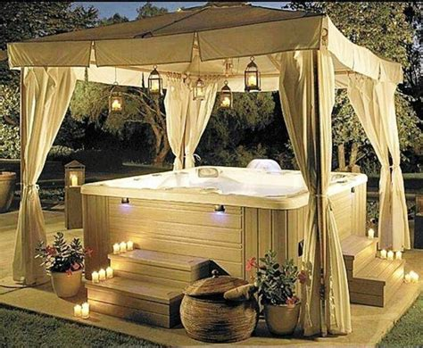 spa backyard outdoor hot tub with canopy and drapes spa deck project