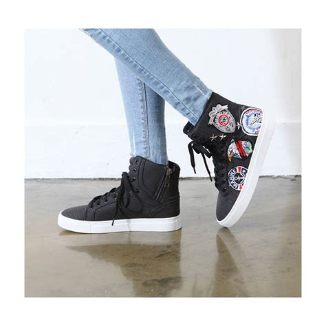 womens synthetic leather patched lace  high tops