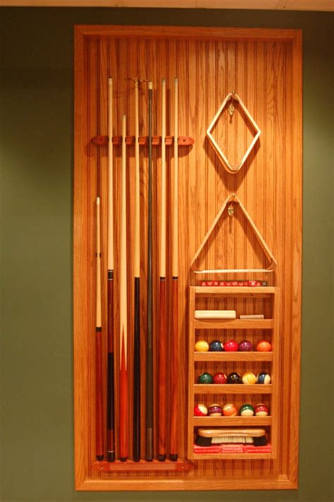 cue rack  built  oak insets  wall game room