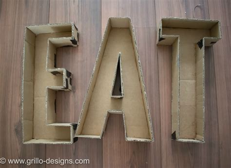 How To Decoupage Cardboard Letters - 3d faux metal letters tutorial from cardboard