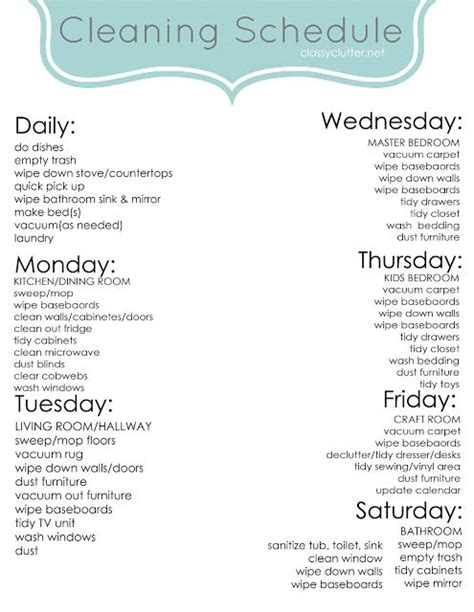 different cleaning schedules schedule printable stay at