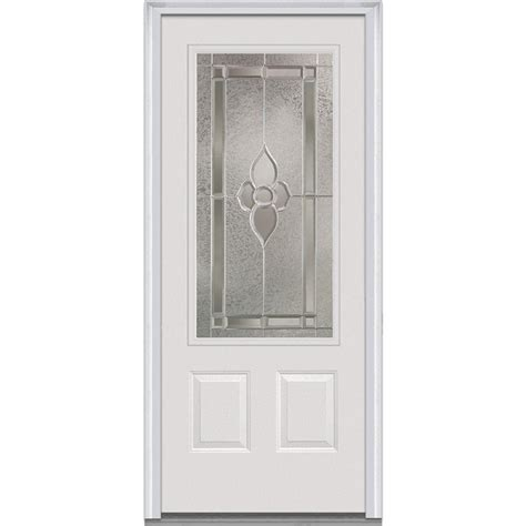 Exterior Fiberglass Doors With Glass Milliken Millwork 37 5 In X 81 75 In Master Nouveau Decorative Glass 3 4 Lite 2 Panel Primed