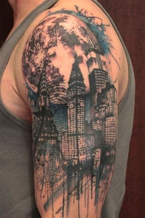 modern tattoo designs men city skyline search work