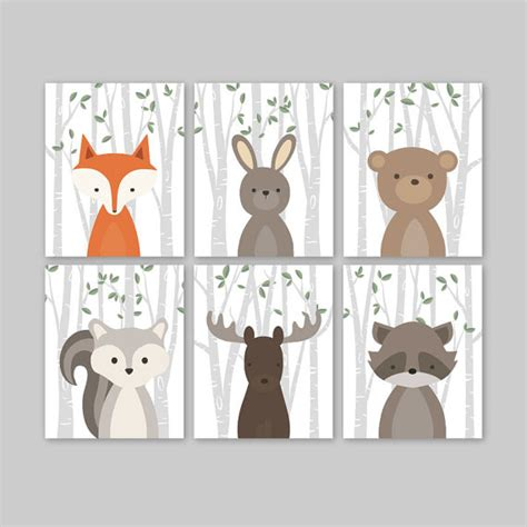 Animal Nursery Art Woodland Nursery Decor Baby Animals Room Animal Nursery Decor