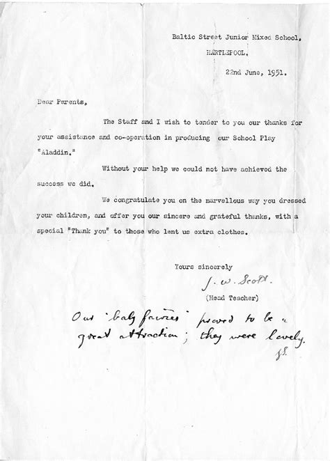 Thank You Letter To Assistant From Parent Hartlepool History Then Now