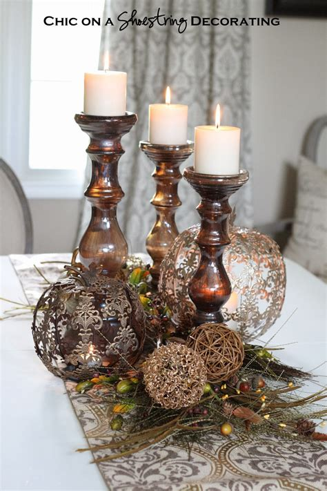 pier one craft table chic on a shoestring decorating fall centerpiece and pier