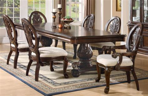 rich cherry finish formal dining room wdouble pedestal base