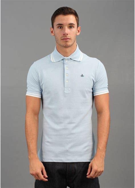 light blue polo shirt mens vivienne westwood man trim collar polo shirt aw12
