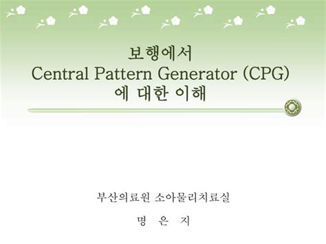 central pattern generator video ppt 보행에서 central pattern generator cpg 에 대한 이해
