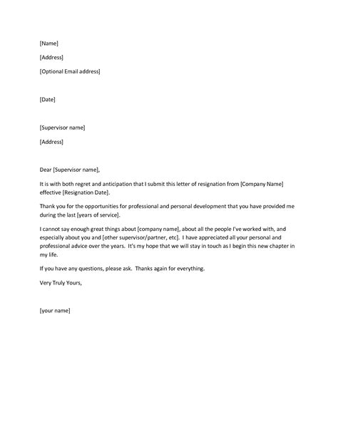 Exle Letter Of Resignation Professional by 29 Free Professional Letter Of Resignation Sles And