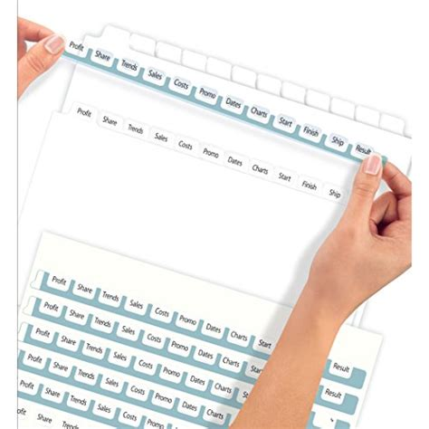 Avery 12 Tab Template 11429 Avery Index Maker Clear Label 8 12 X 11 Inches Dividers With 12 White Tabs 5 Pack 11429