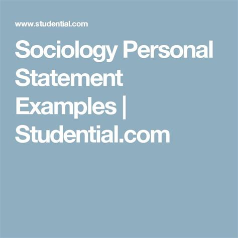 sociology personal statement exles studential psychology