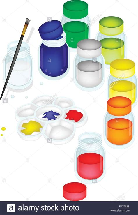 color jars color paint jars and plastic palette with a craft