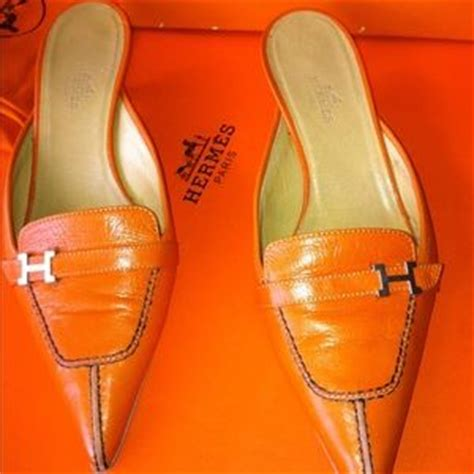 9 hermes shoes auth vintage hermes orange slide quot h quot mule from el s closet on poshmark