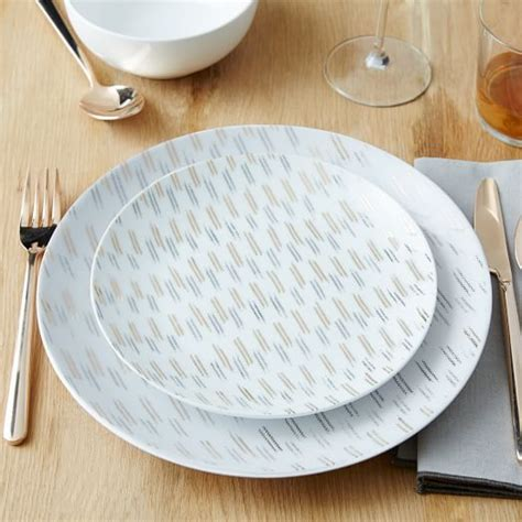 Ikat Pinggang Plat Silver palette dinnerware set ikat gold silver west elm