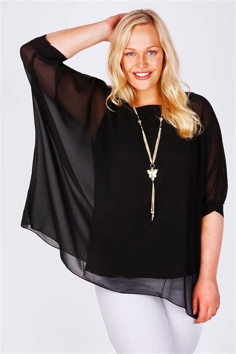 sleeve chiffon top black batwing sleeve chiffon top with necklace plus size
