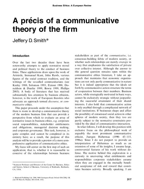 precis template a precis of a communicative theory of the firm