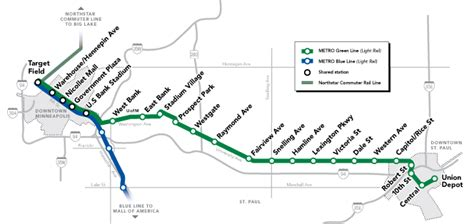 twin cities light rail map metro green line
