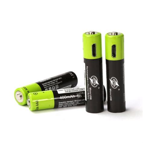 battery with usb znter aaa rechargeable battery 400mah mirco usb 1 5v