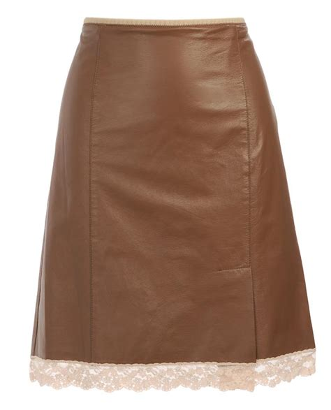 marc leather and lace pencil skirt in brown lyst
